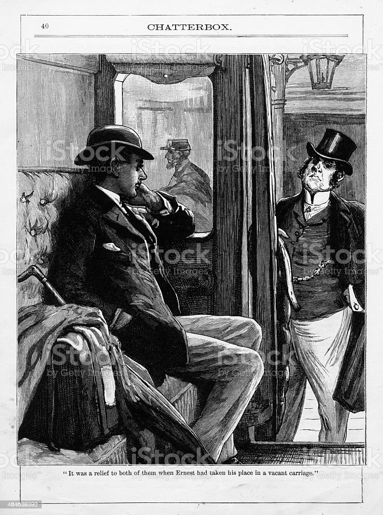 Business Men Travelling on a Train Victorian Engraving vector art illustration