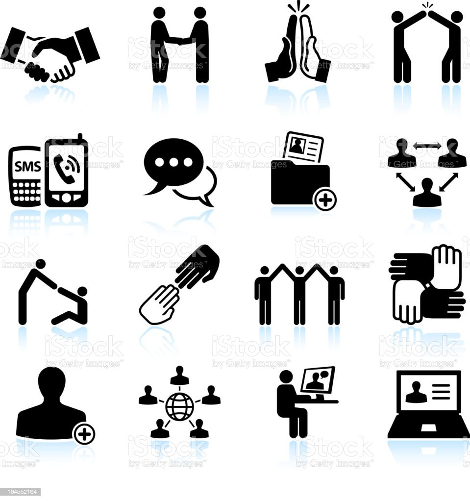 business networking and communications black & white vector icon set royalty-free stock vector art