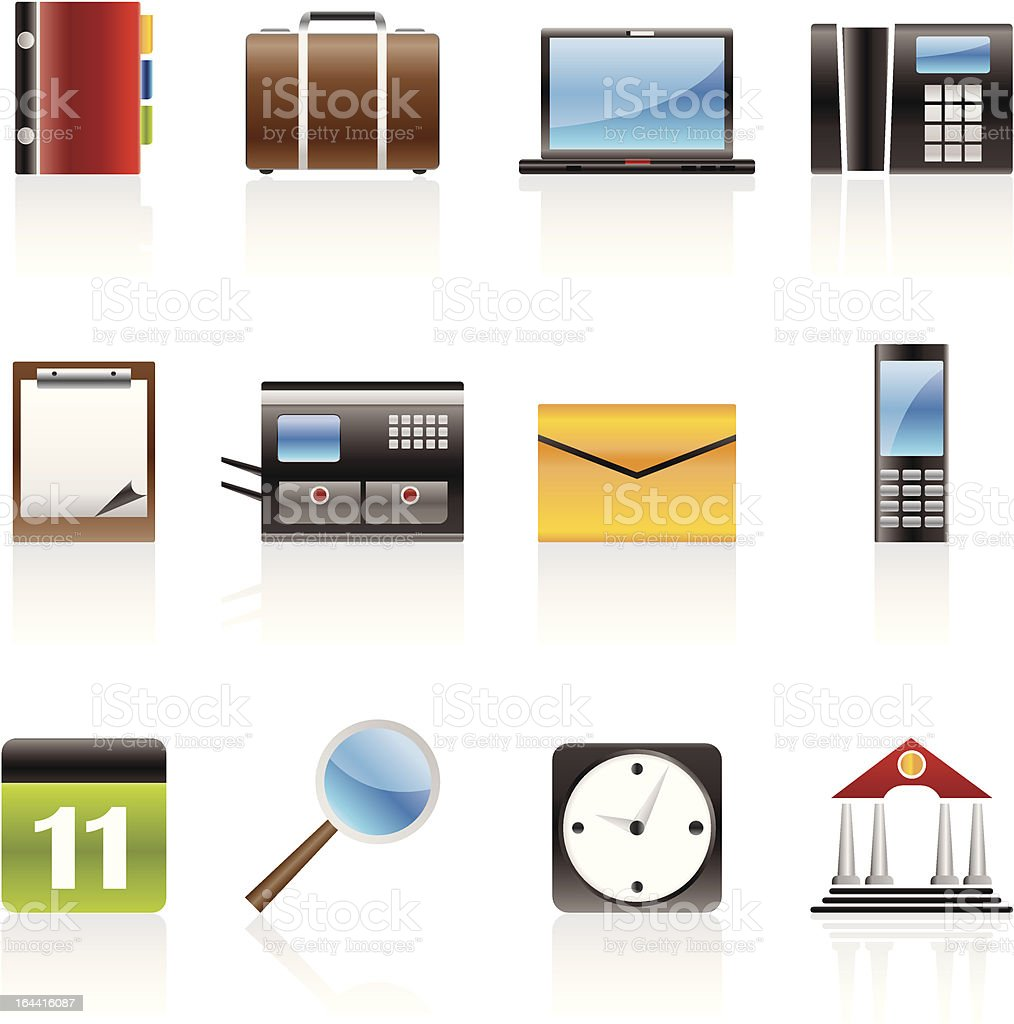 Business, Office and Mobile phone icons royalty-free stock vector art