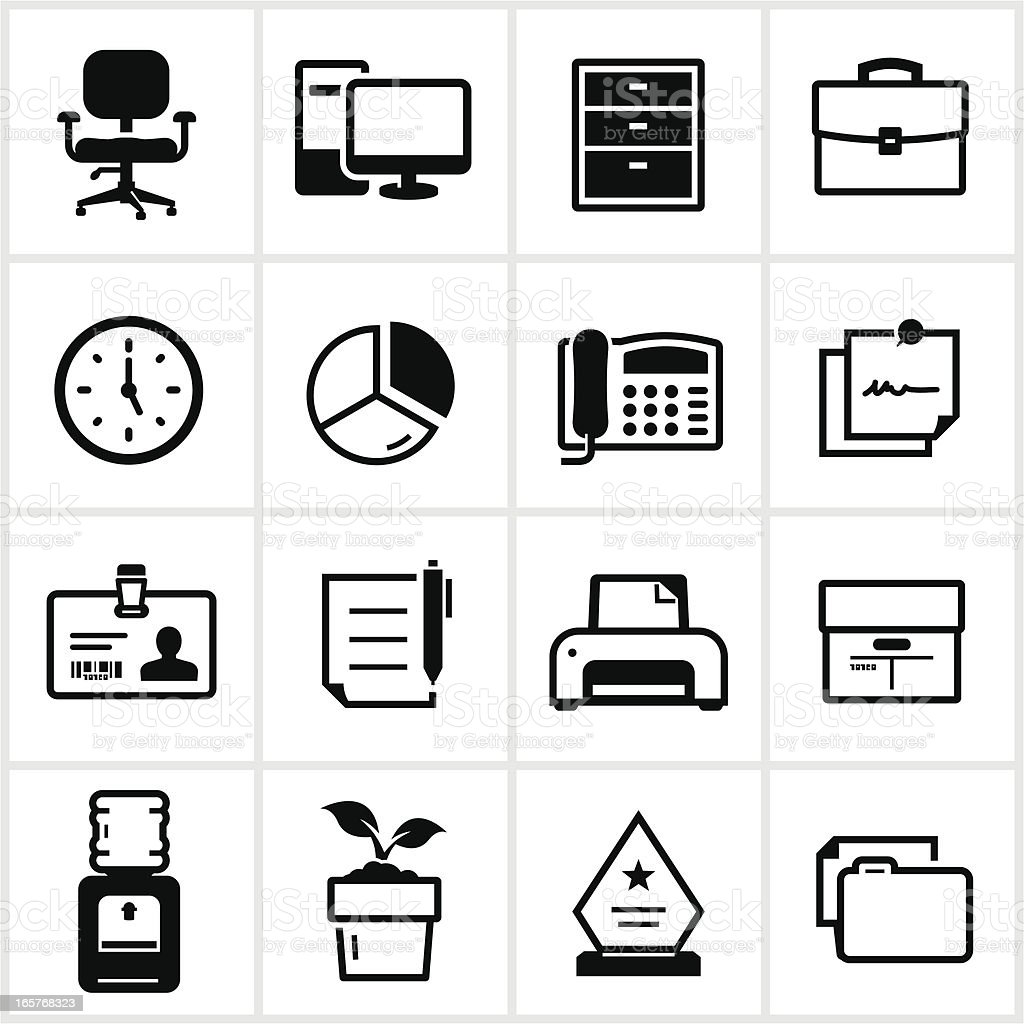 Business Office Icons vector art illustration