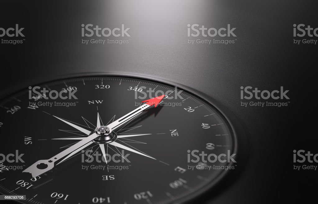 Business Orientation Background, Compass on the Left stock photo