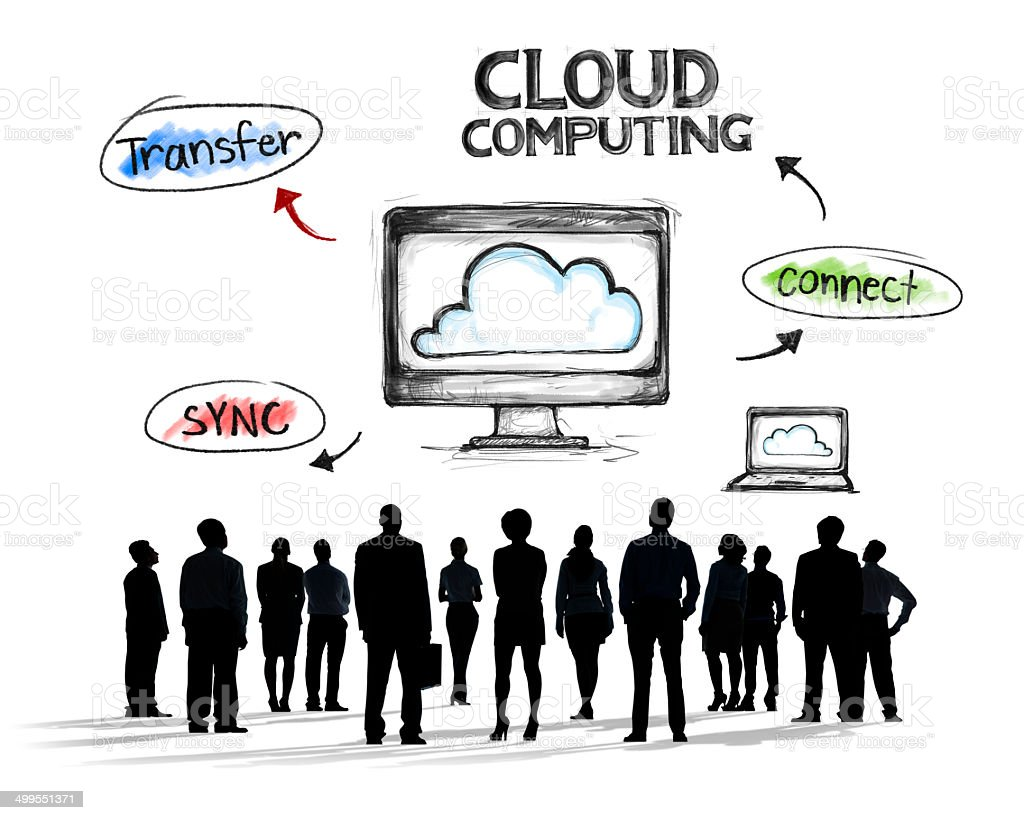 Business People and Cloud Computing Concepts vector art illustration