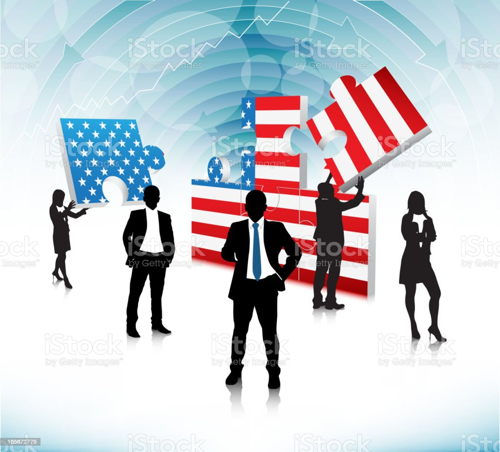 Business people are making USA puzzle flag royalty-free stock vector art