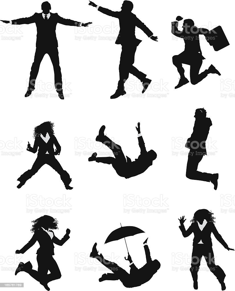 Business people jumping and falling vector art illustration