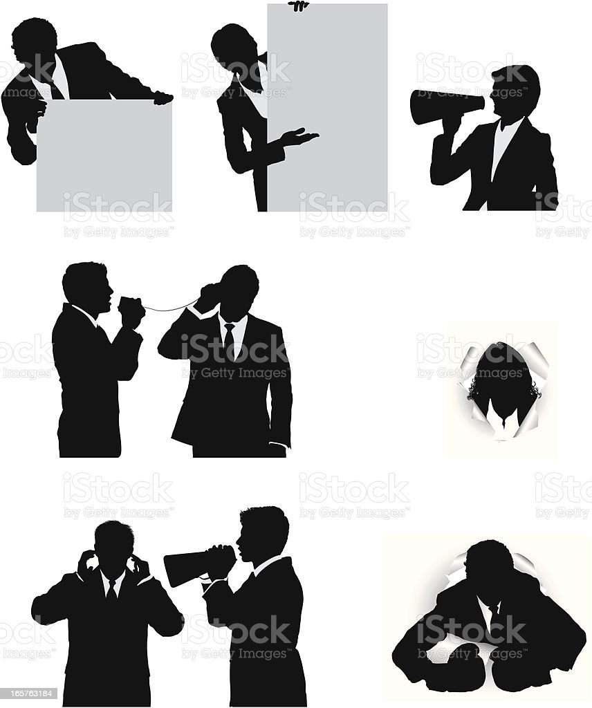 Business people silhouettes vector art illustration