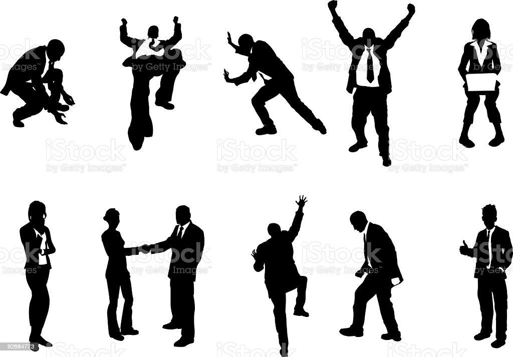 business people unusual silhouettes vector art illustration