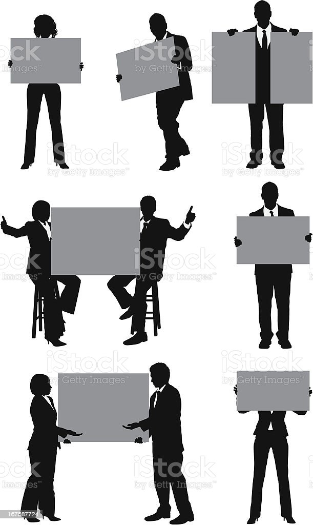 Business people with placards royalty-free stock vector art