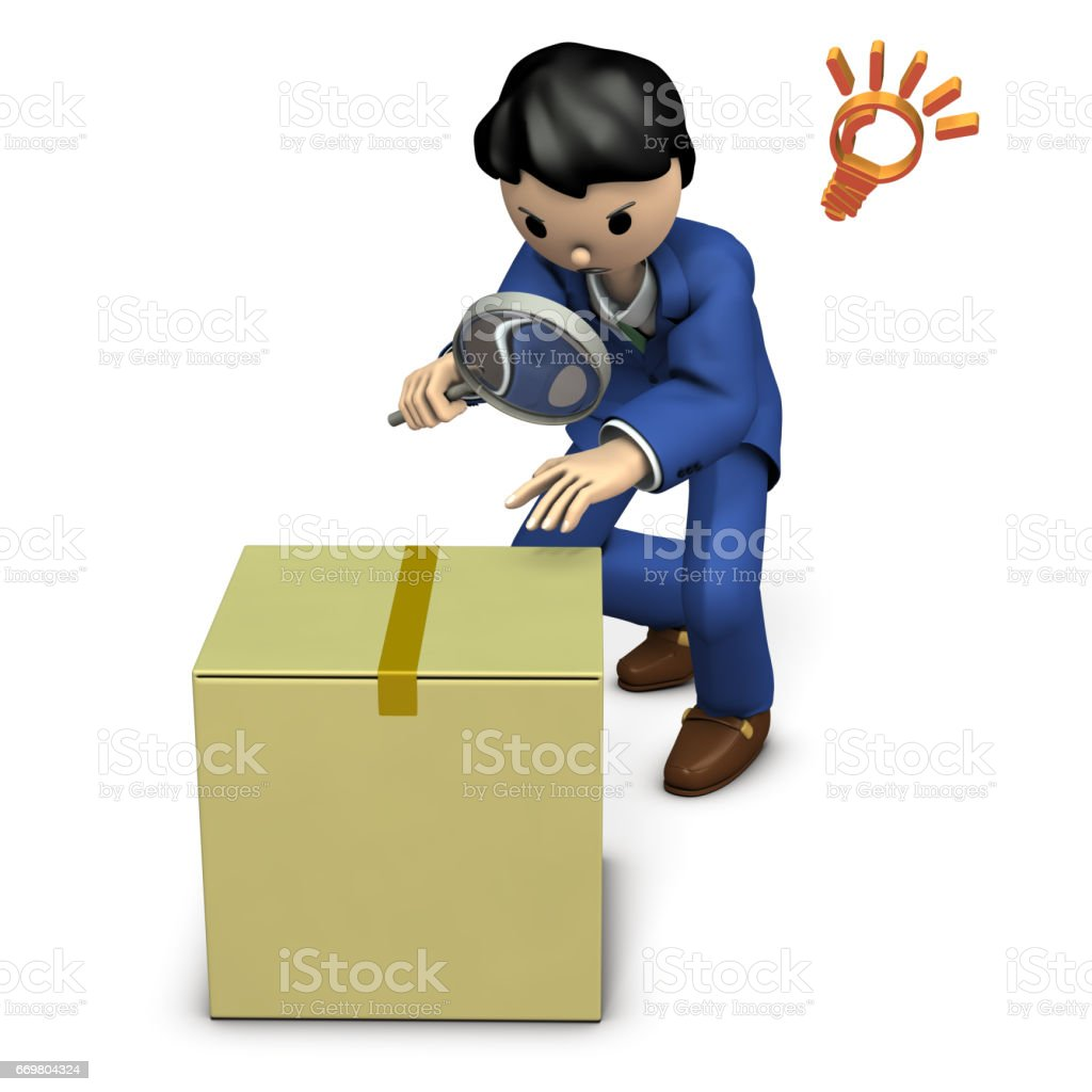 Business person looking for a corrupt cardboard box. vector art illustration