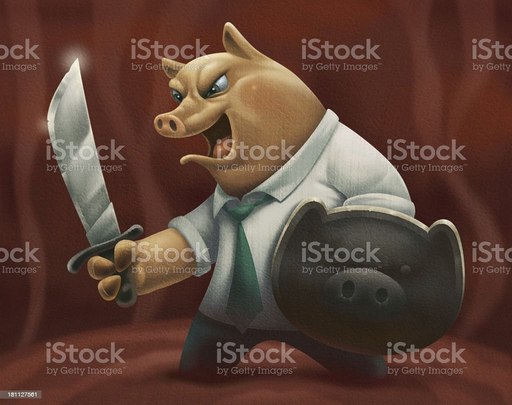 business pig vector art illustration