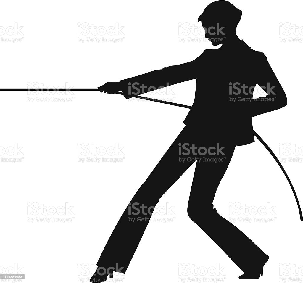 Business Silhouette - the rope! vector art illustration