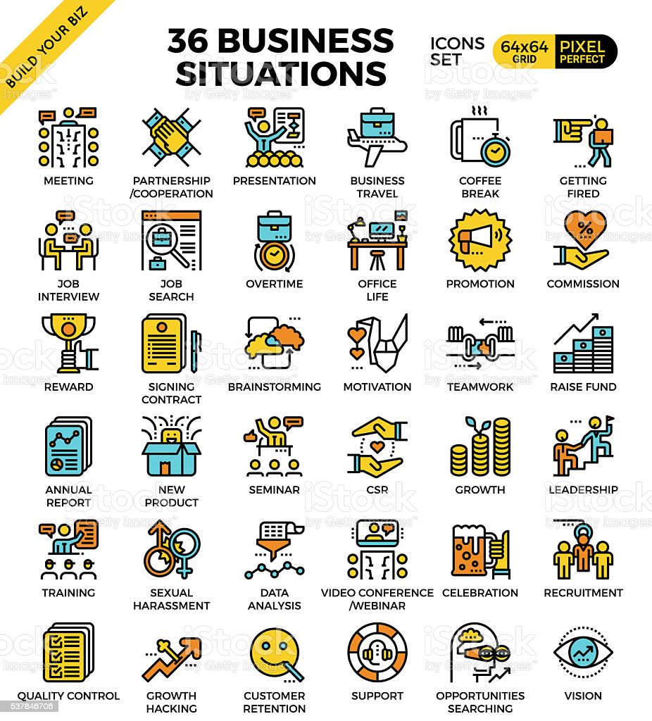 Business situations icons vector art illustration