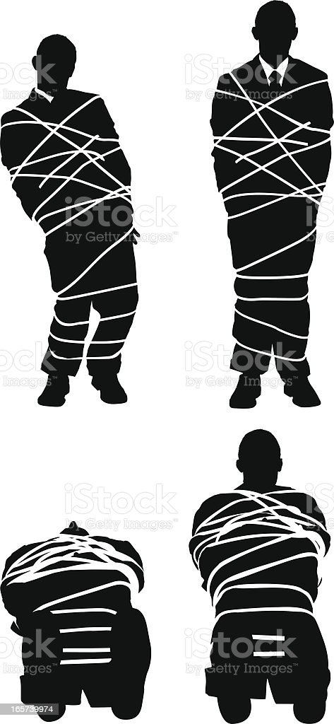 Businessman all tied up vector art illustration