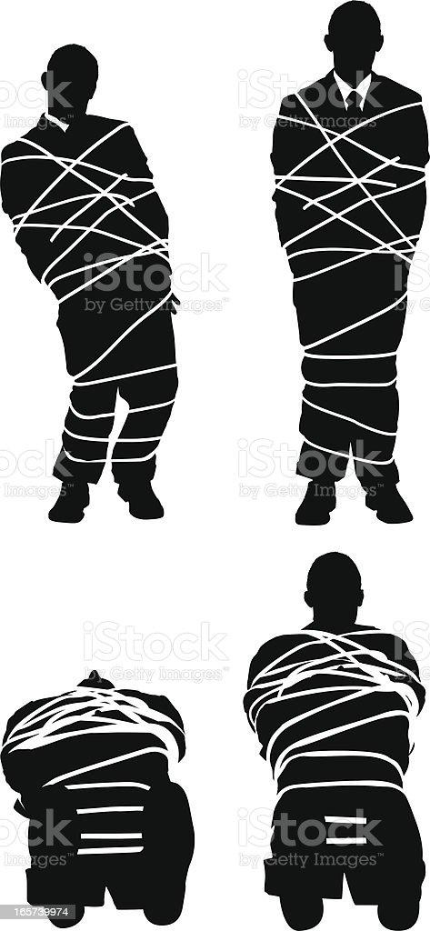 Businessman all tied up vector art illustration