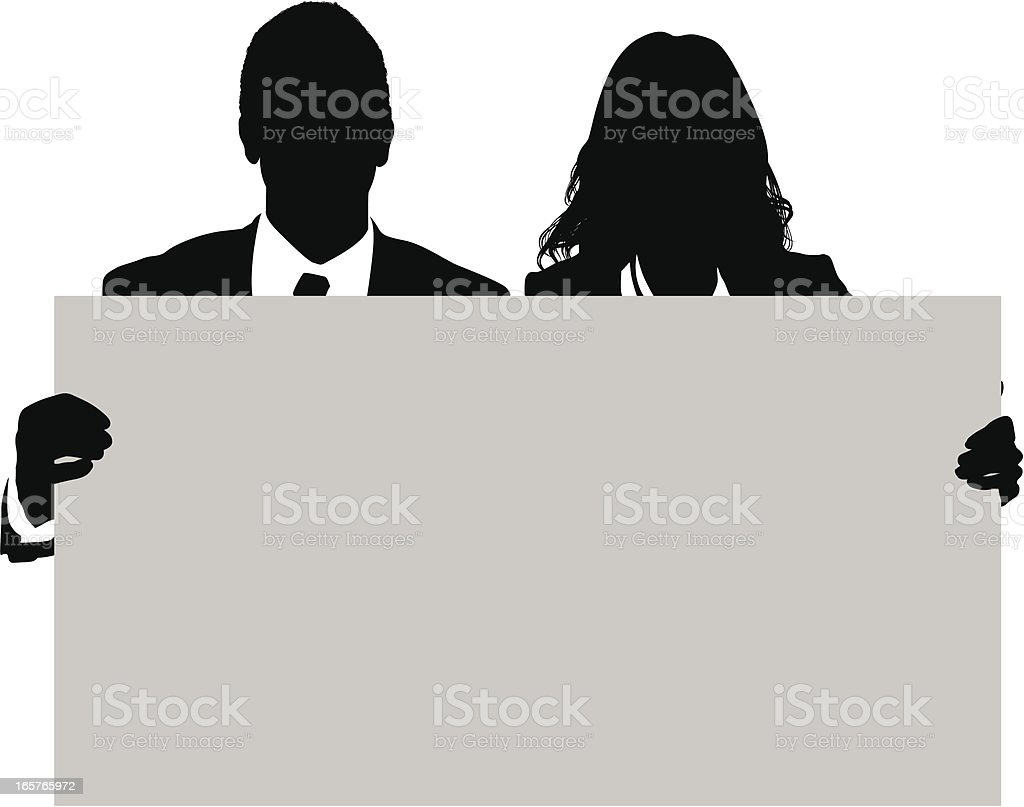 Businessman and businesswoman holding up signboard vector art illustration