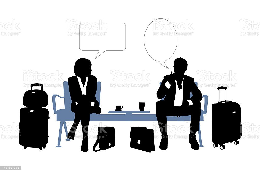 businessman and businesswoman speaking in the airport lounge vector art illustration
