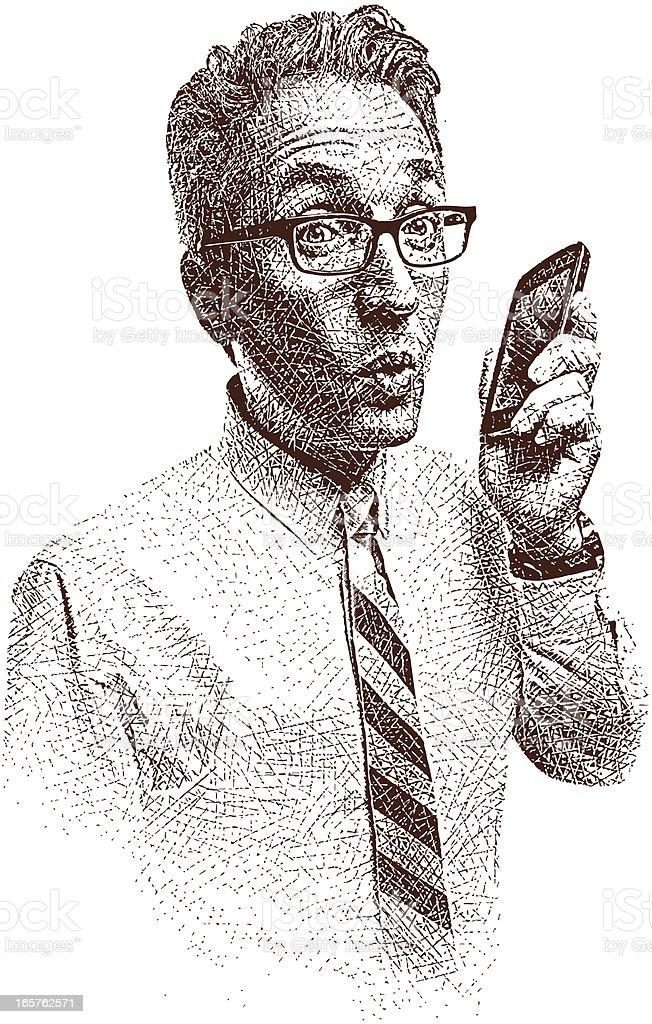 Businessman and Smart Phone vector art illustration