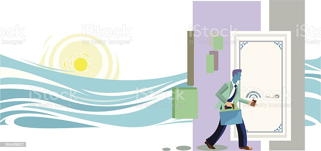 Businessman and vacation vector art illustration