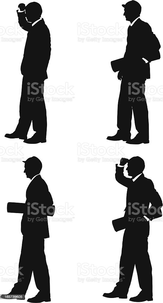 Businessman architect with blueprints royalty-free stock vector art