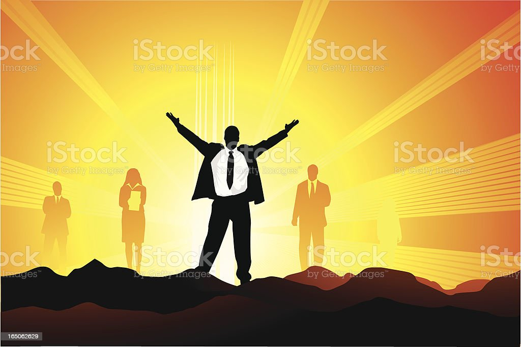 Businessman at his peak royalty-free stock vector art