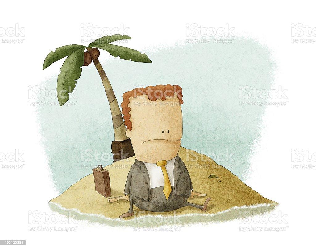 businessman castaway on island vector art illustration