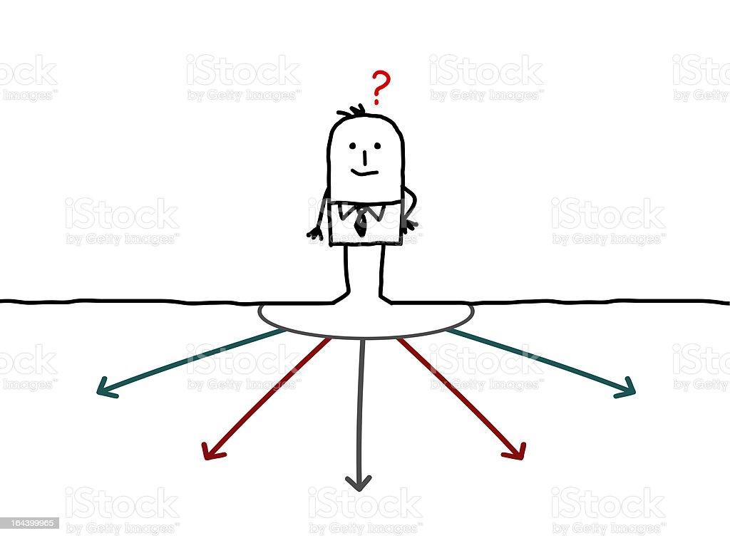 businessman choosing his direction vector art illustration