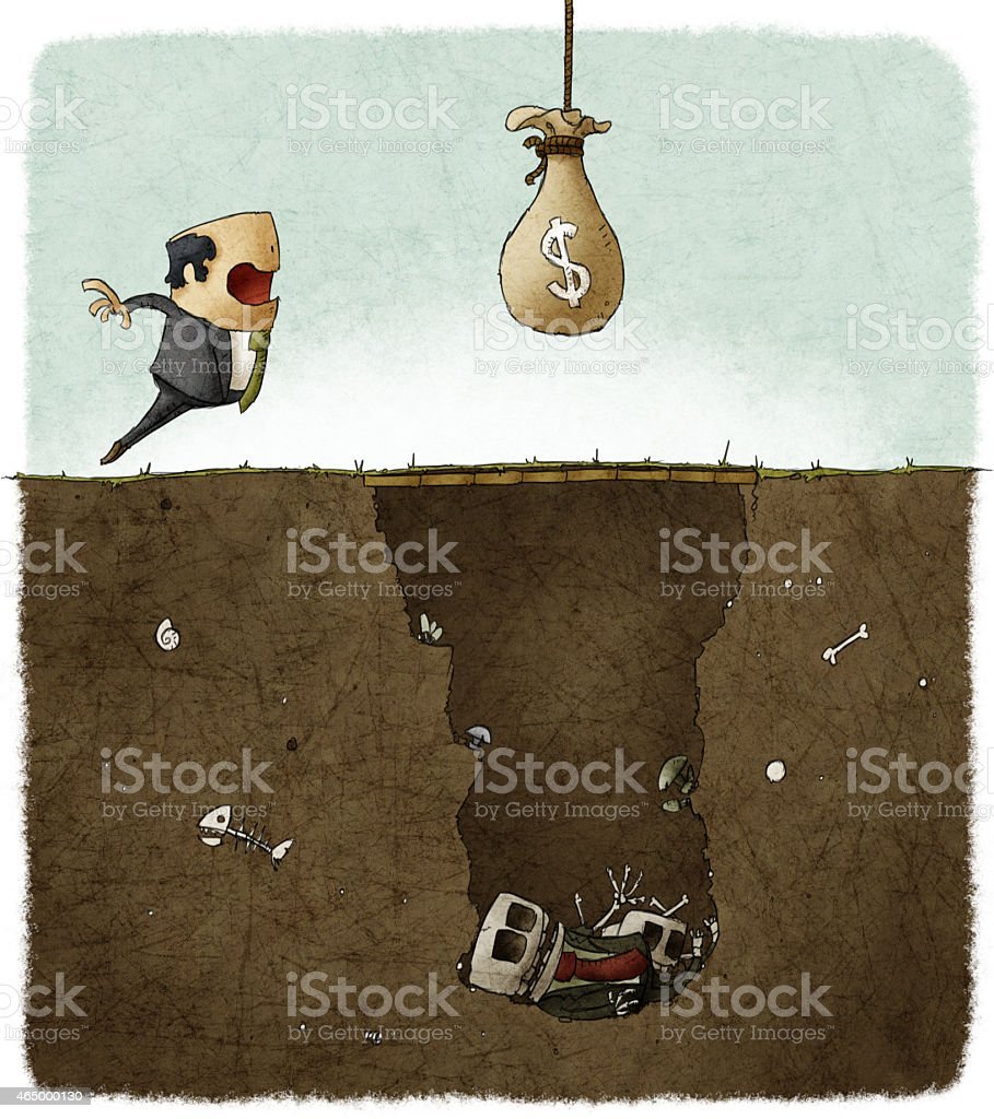 businessman deceived with a trap vector art illustration