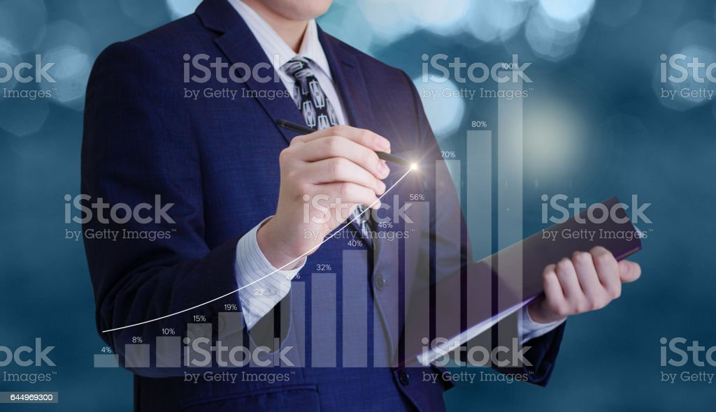 Businessman draws a graph. vector art illustration
