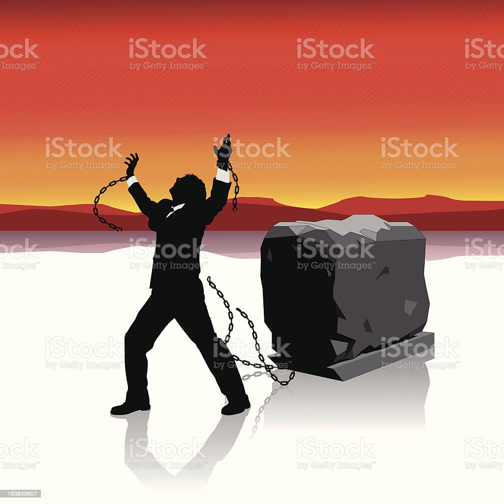 Businessman breaks free Illustration : Istockphoto