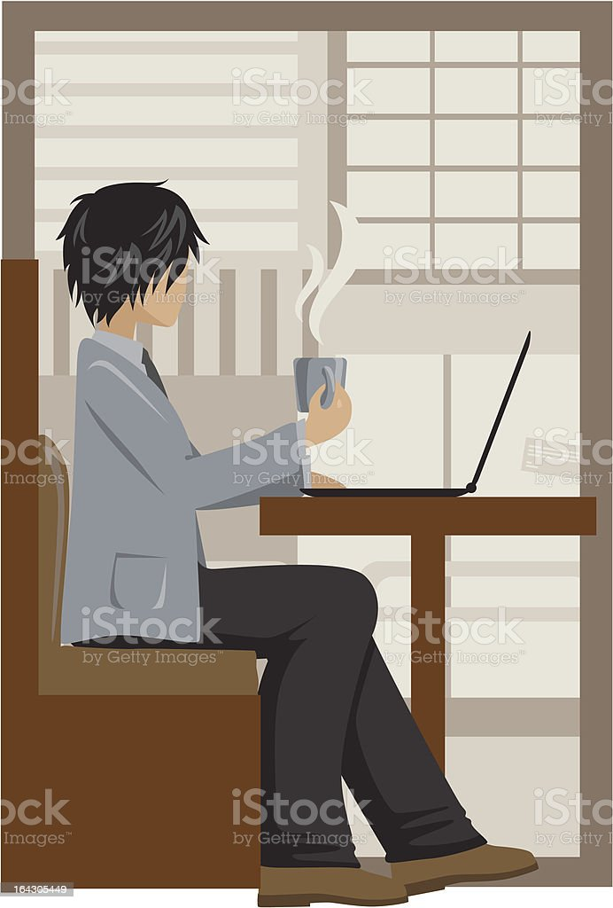 Uomo d'affari avendo pausa tè illustrazione royalty-free
