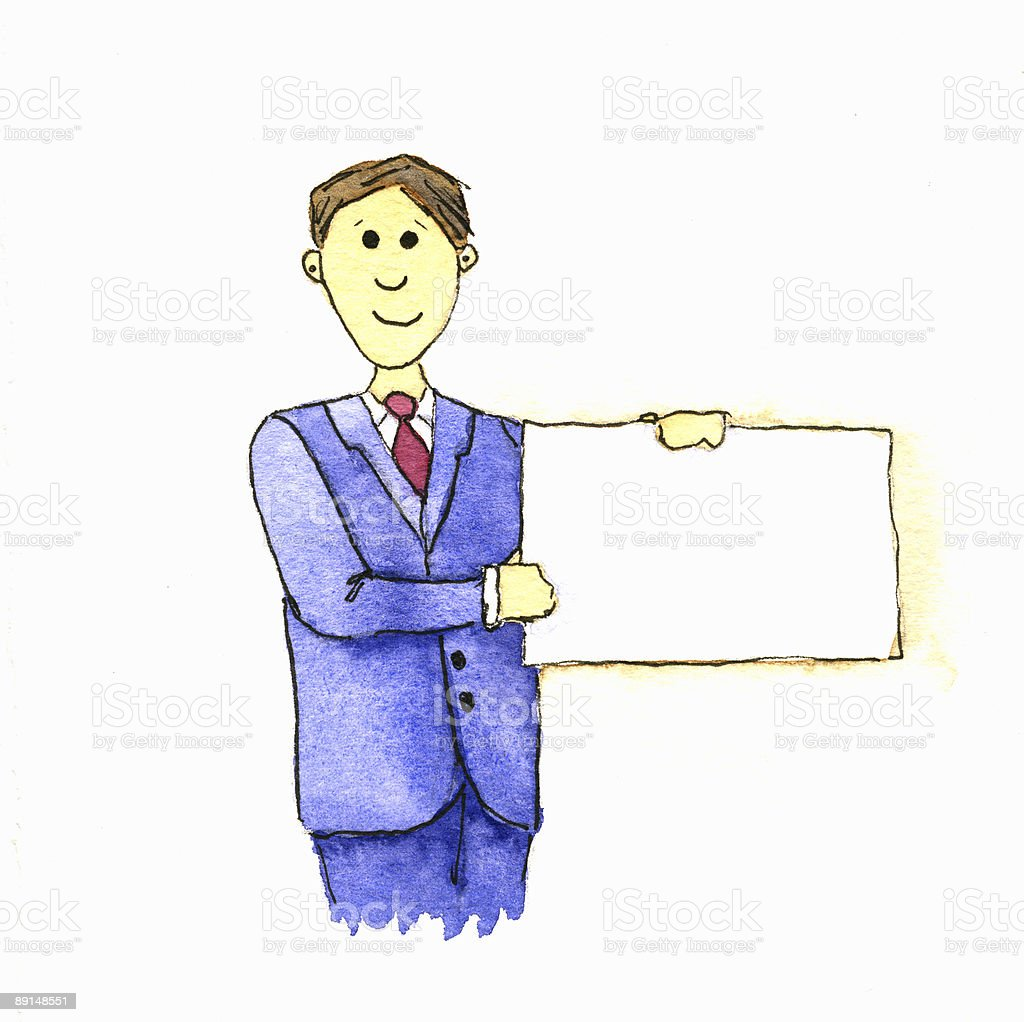 Businessman holding sign royalty-free stock vector art