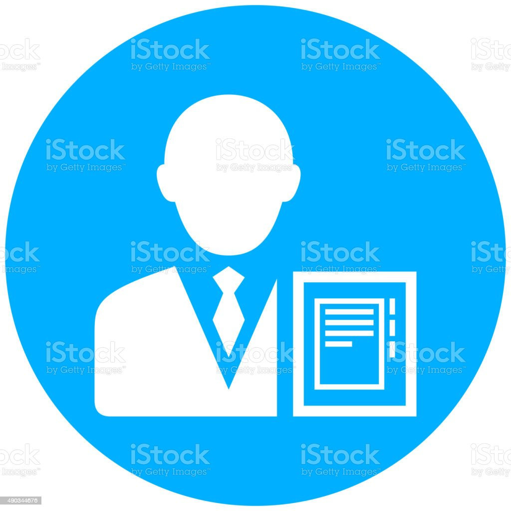 Businessman icon on a round button. - RoundSeries vector art illustration
