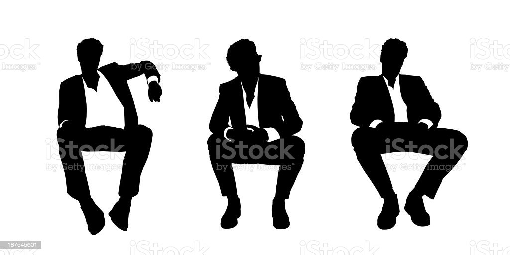 businessman seated in the armchair silhouettes set 1 vector art illustration
