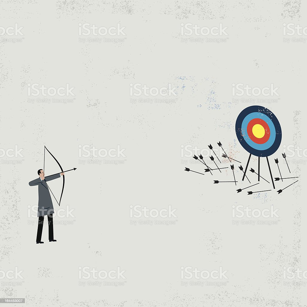 Businessman shooting arrows vector art illustration