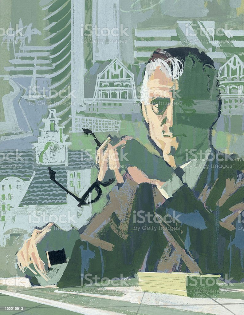 Businessman Sitting at a Desk royalty-free stock vector art