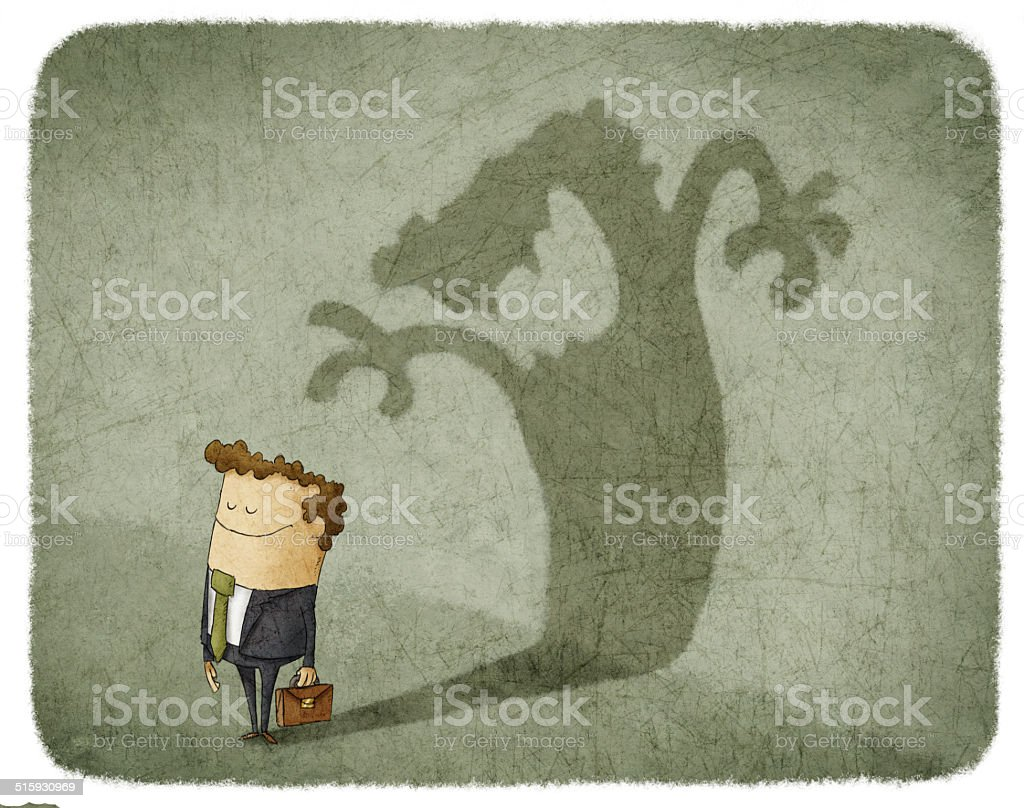 Businessman standing and casting shadow of an angry man vector art illustration