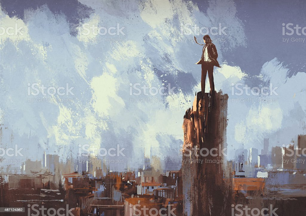 businessman stands on the peak looking at city vector art illustration