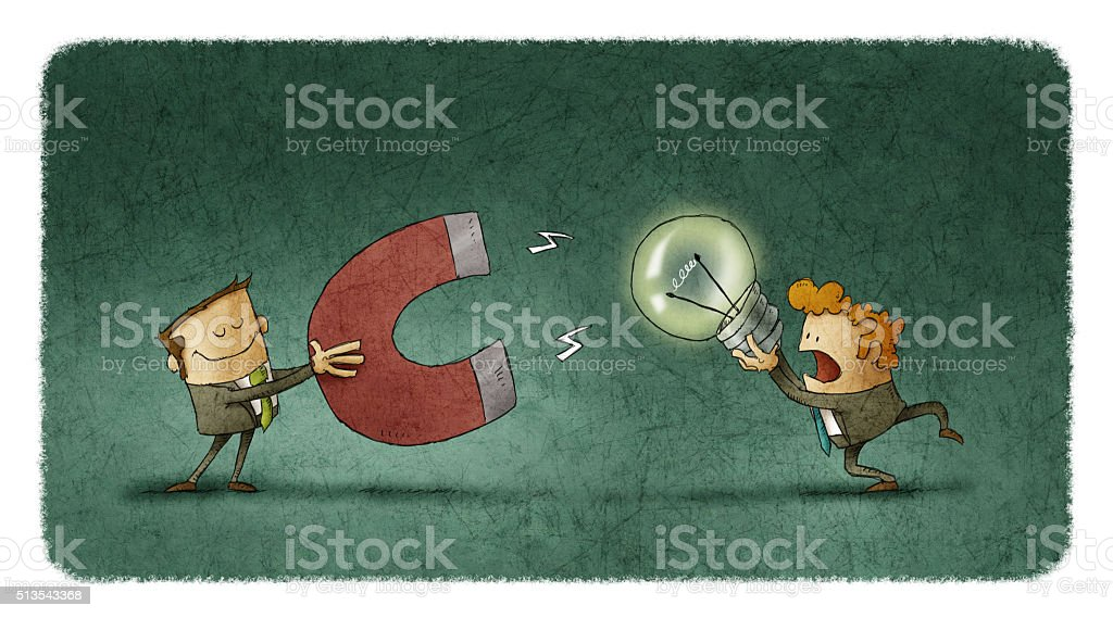 Businessman trying to steal someone else's idea vector art illustration