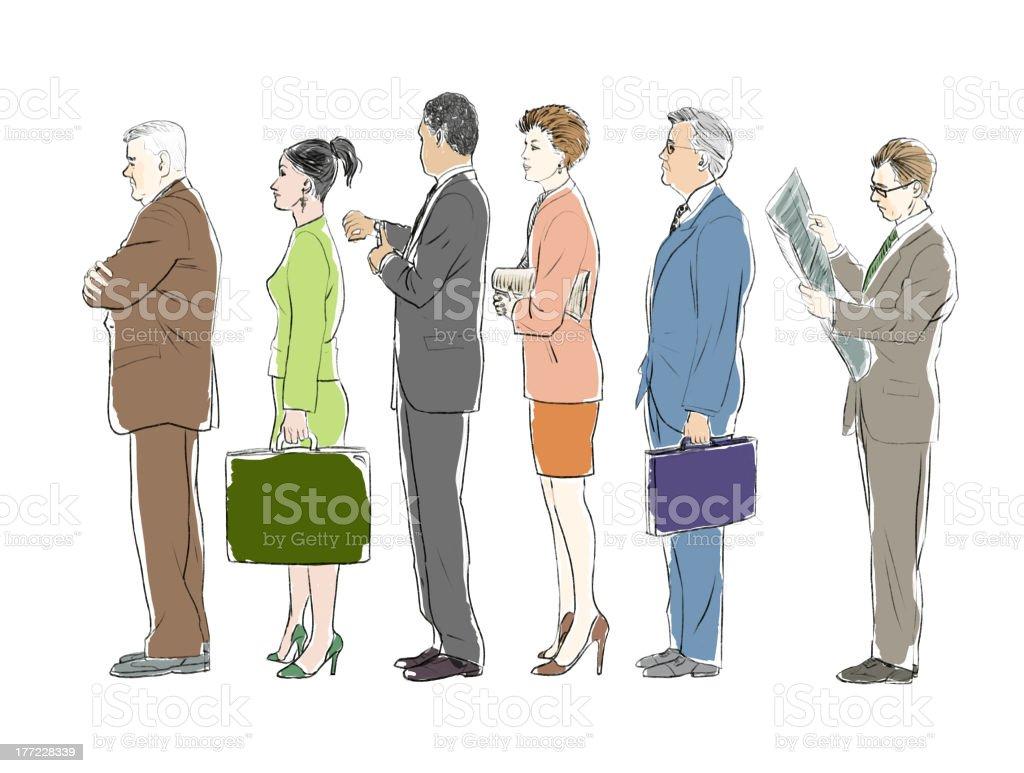 Businessman waiting in line vector art illustration