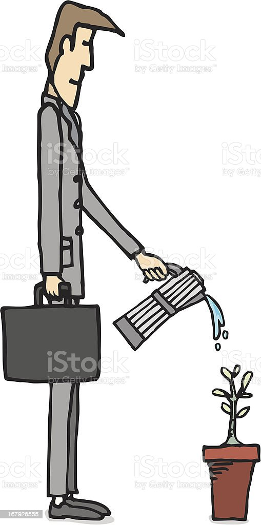 Businessman watering plant / Business growing royalty-free stock vector art