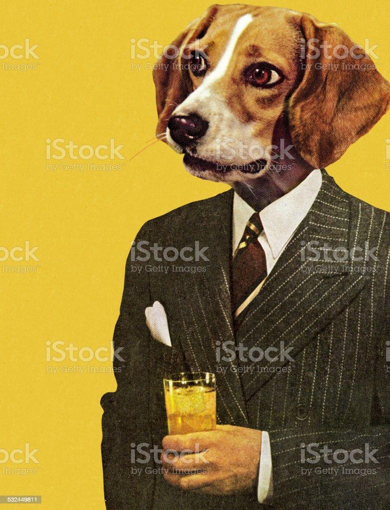 Businessman with a Dog Head vector art illustration