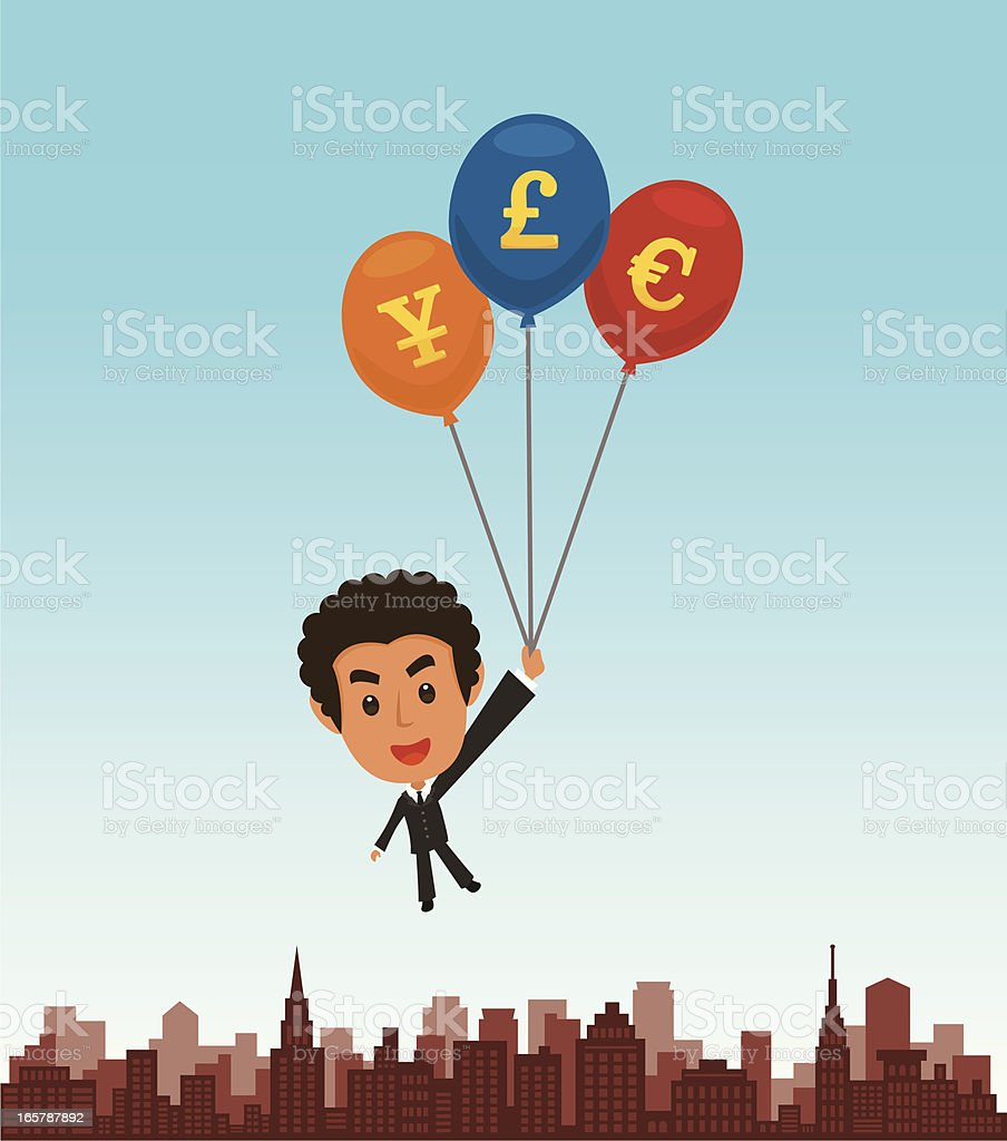 Businessman with balloon royalty-free stock vector art