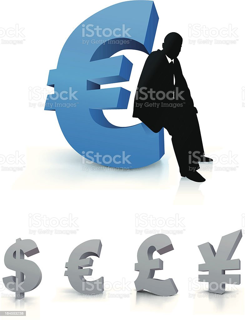 Businessman with Euro currency symbol royalty-free stock vector art