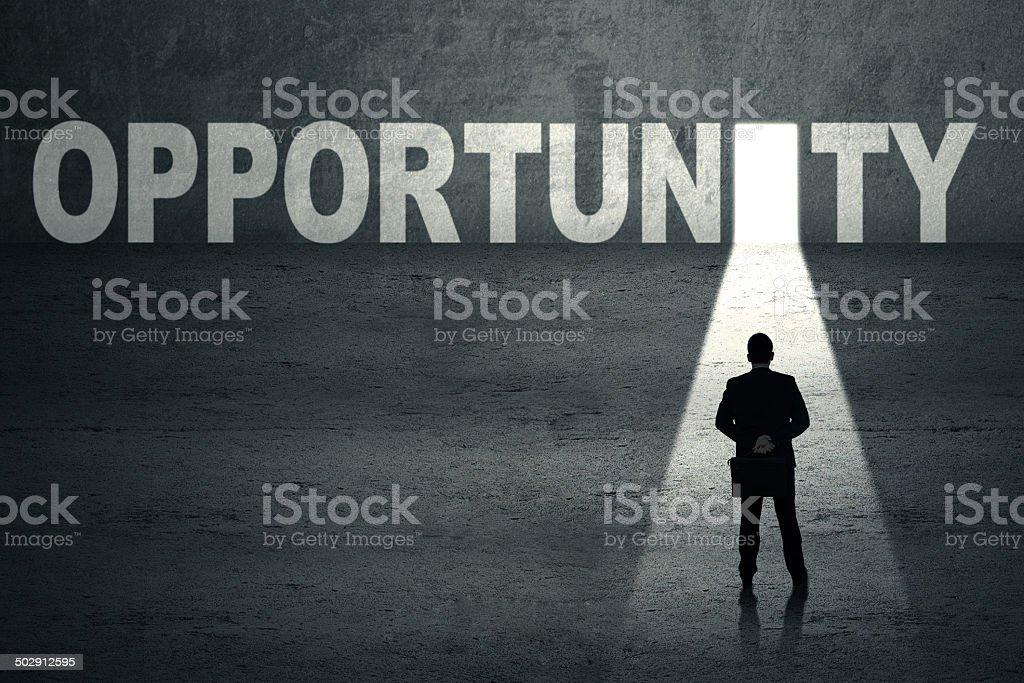Businessman with opportunity door vector art illustration