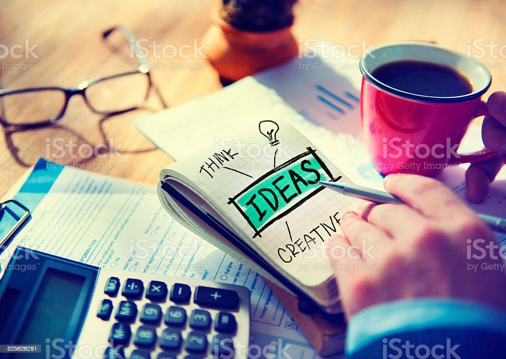 Businessman Writing Ideas Creative Concept vector art illustration