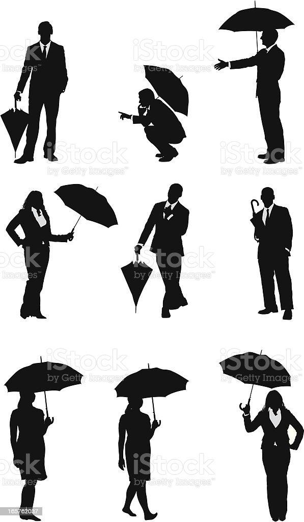 Businessmen and businesswomen with umbrellas vector art illustration