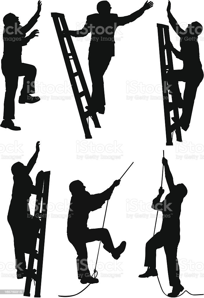 Businessmen climbing the ladder of success royalty-free stock vector art