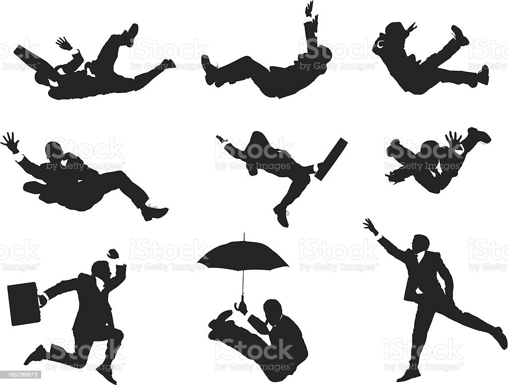 Businessmen falling through the sky vector art illustration