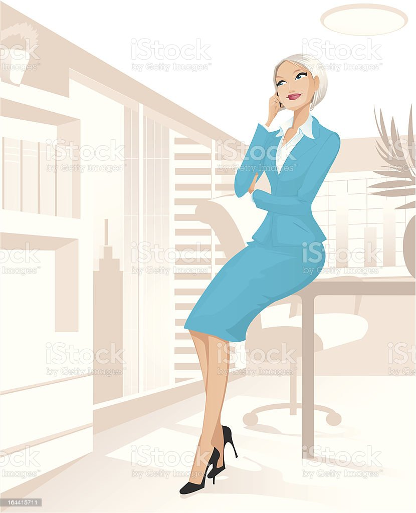Businesswoman at office royalty-free stock vector art
