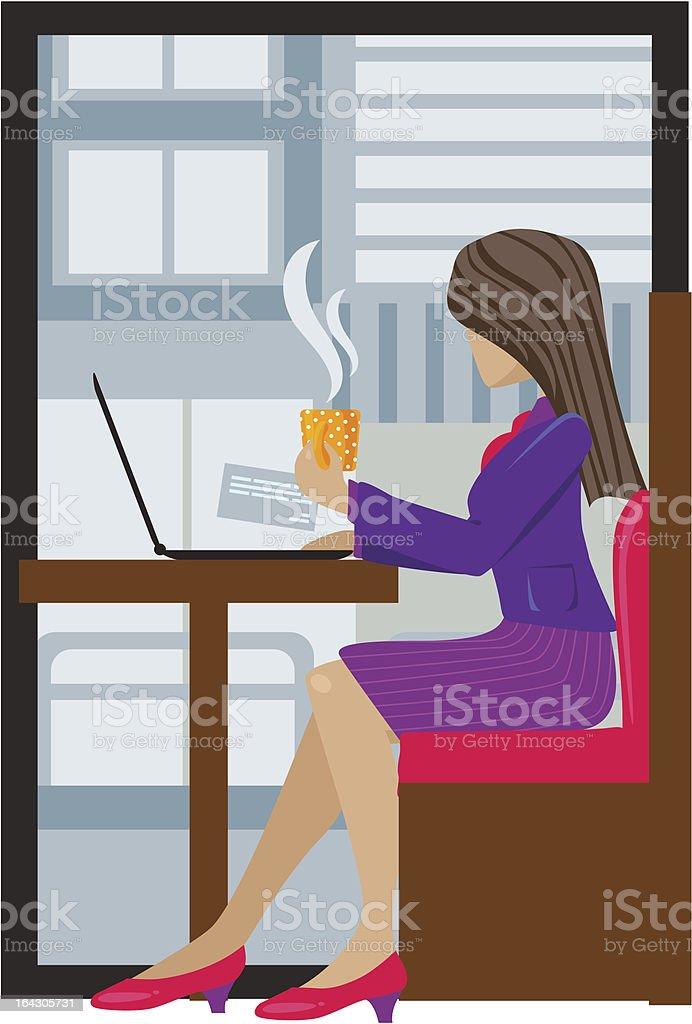 Donna d'affari avendo pausa tè illustrazione royalty-free