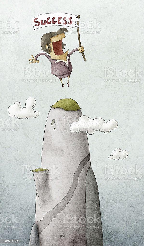 Businesswoman on a peak of mountain vector art illustration